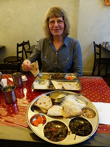 We got a real thali in an  Indian restaurant in Auckland.