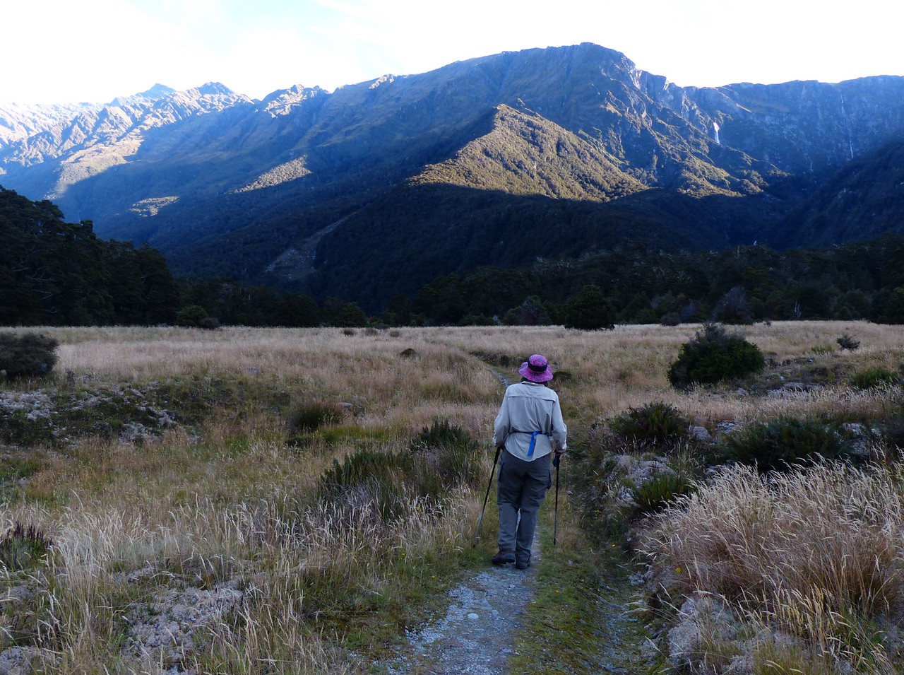 Mt. Aspiring backpack - We continued up the valley on day 2.