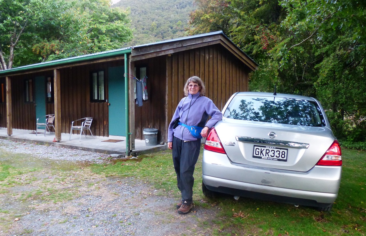 Makarora Travel Center - Another hostel. Rena with our rental car. It was a constant struggle to stay left on the roads. But the roads were good, the drivers OK, and there wasn't a lot of traffic.