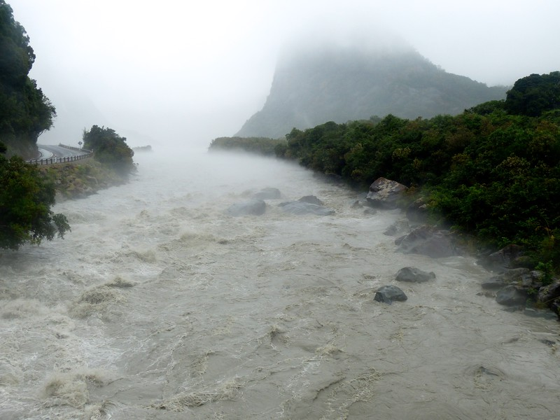 High water coming from Fox Glacier.