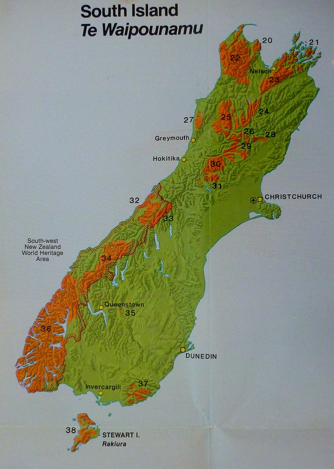 New Zealand contains many national parks shown as the orange shaded areas on this map. We drove down the West Coast through Hokitika and eventually flew back to Auckland on the North Island from Queenstown.