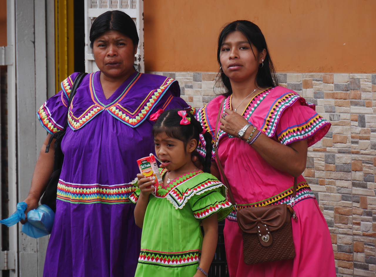 Boquete - most of the women of the Ngbbe-Bugle indigenous group wear these distinctive decorated  dresses.