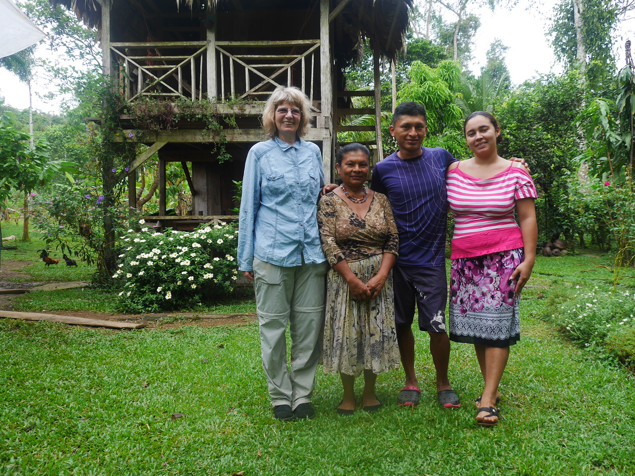 We spent 3 days at the wonderful Soposo Lodge  visiting the Naso people near Amistad International Park. Here Rena poses with Virginia, her son Max, who was our guide, and his wife Christina.