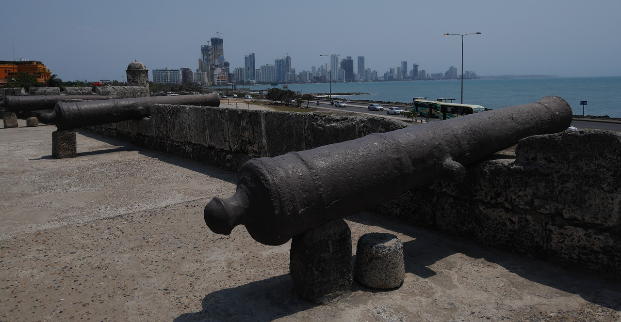 The modern part of Cartagena  is visible from the old city near Cafe Del Mar.
