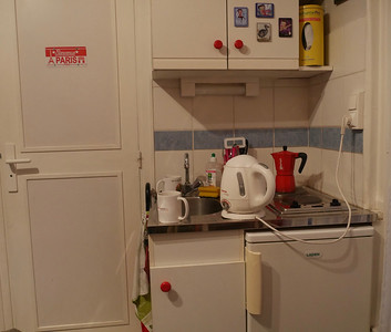 Our well stocked kitchen. The door leads to the bathroom.
