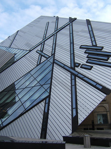 Modern front of the Royal Ontario Museum (ROM). This new addition was recently added to the traditional museum building and has caused lots of controversy. The museum is first class, and is considered to be one of the best in Canada.