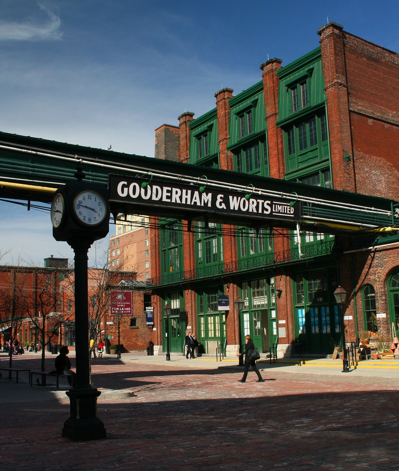The Old Distillery District. It now contains shops, restaurants, art galleries, and theators.