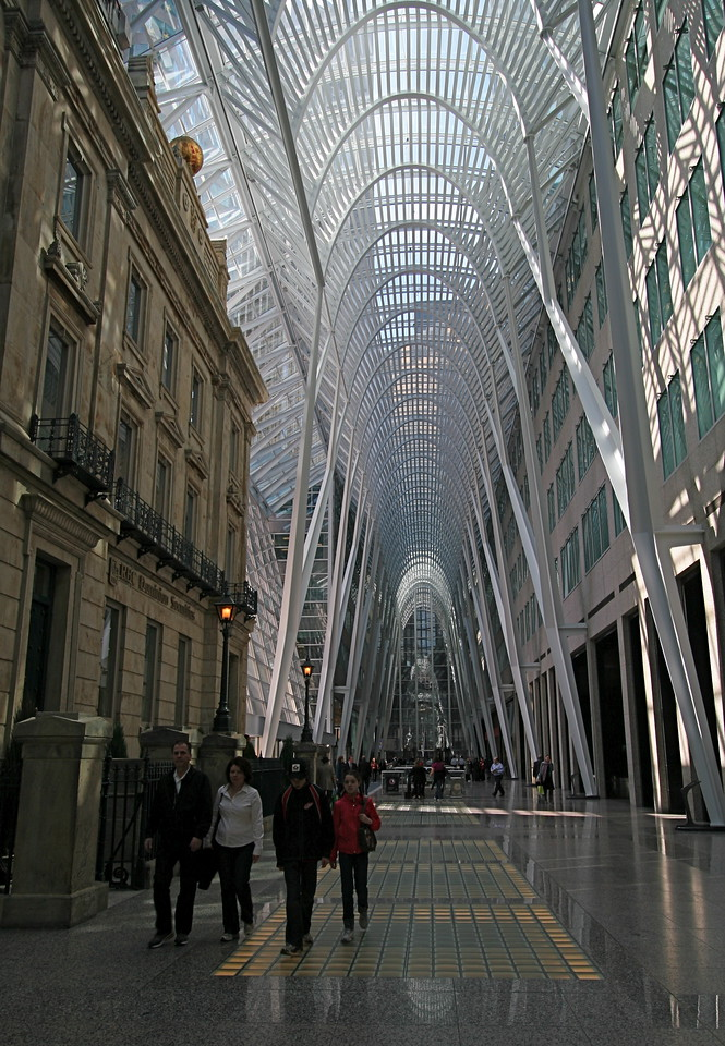 Inside a beautiful Galleria near Front Street. Note the facade of the Montreal Bank building on the left.