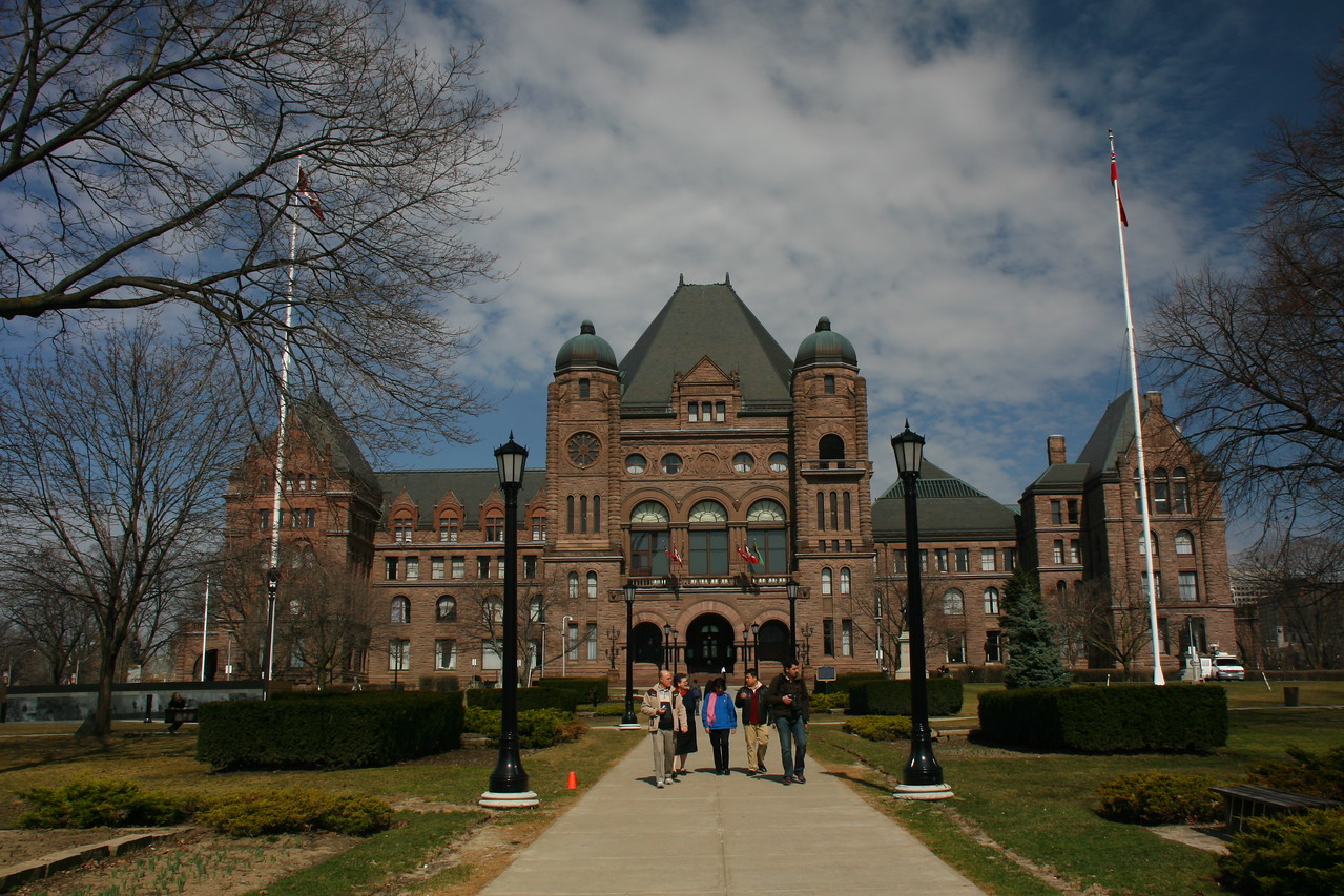 Queen Park, the home of the Ontario Legislature, is located next to the University of Toronto