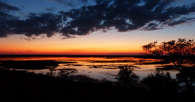 Our first sunset at  Baobab Lodge. This was the view from the dining area.