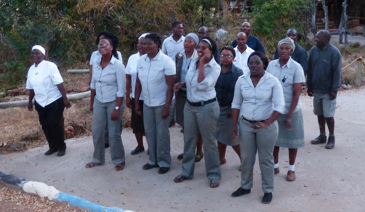 The staff at the Baobab Lodge greeted us on arrival with singing and dancing. We stayed 3 nights at 4 different lodges  on this trip.