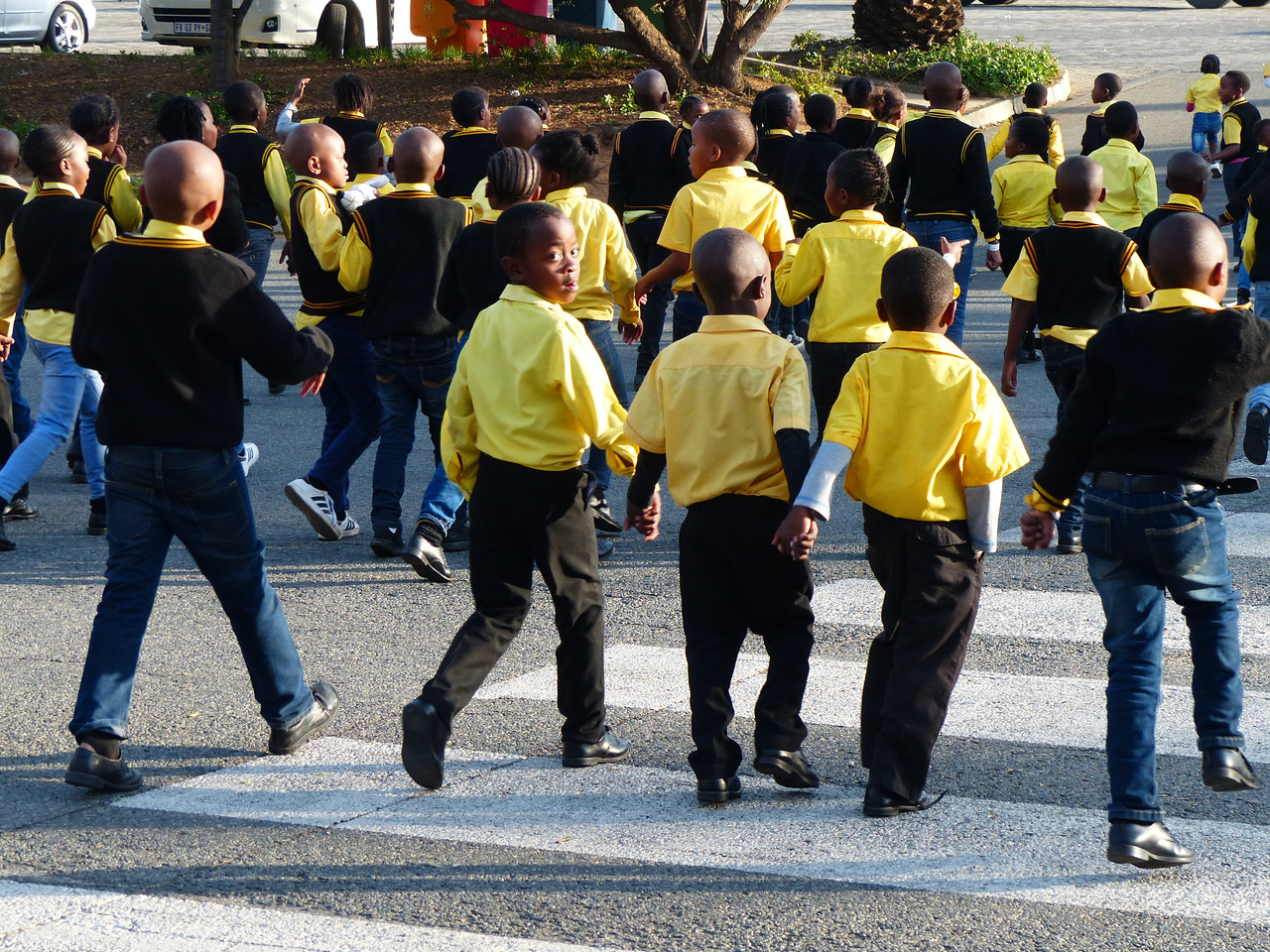 We saw these school kids when we visited the Apartheid Museum.