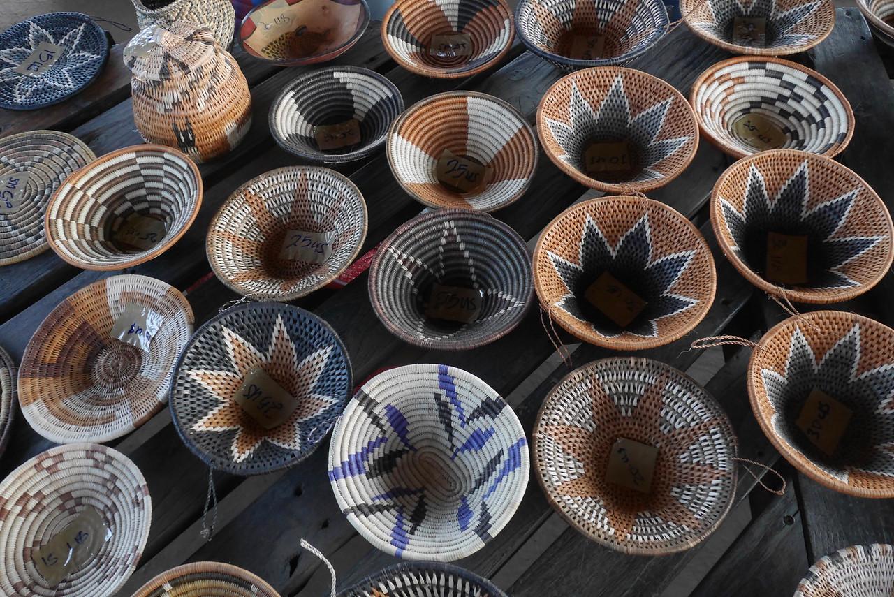 Basket weaving center in Mabele Village.