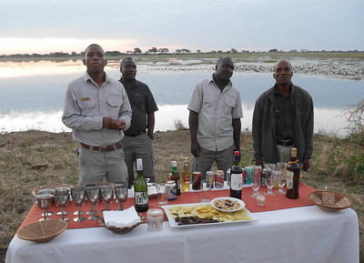 On many evenings, we had what is called a Sundowner. Snacks and drinks while you watch the sunset.
