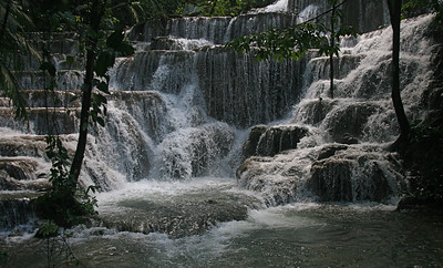 The less-frequented path to the Palenque Museum passes some spectacular waterfalls.