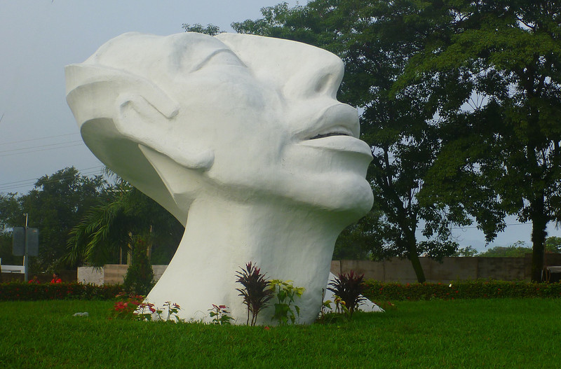 The large statue at the entrance to the town is very Mayan looking.