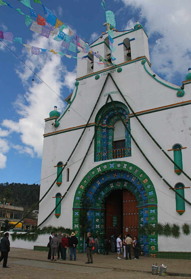 The famous church at San Juan Chamula near San Cristobal de las Casas. They practice a mixture of Catholicism and animist religion. It is quite different inside.