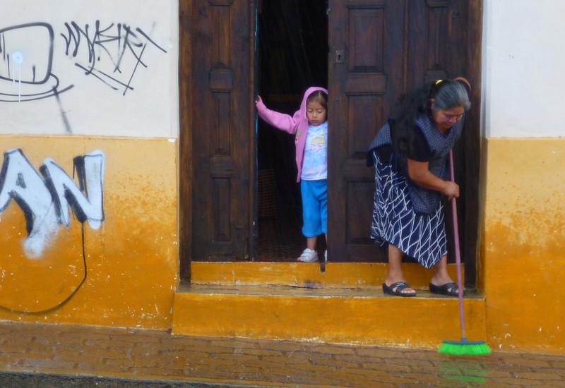Grandma cleaning up