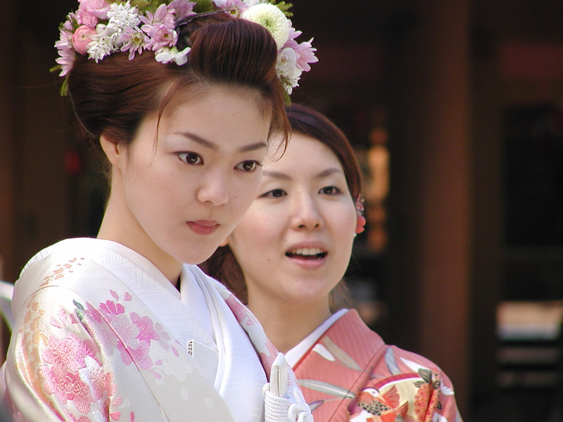 Young Japanese Bride at wedding rehearsal