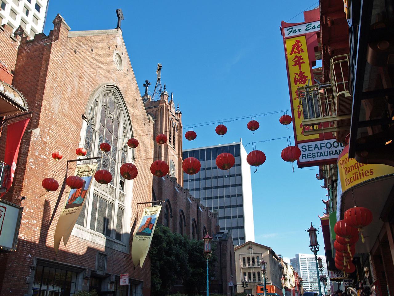 Lanterns hanging in Chinatown