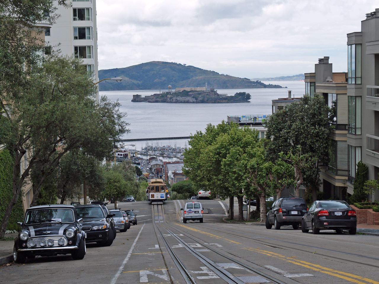 Powell Street looking toward Alcatraz
