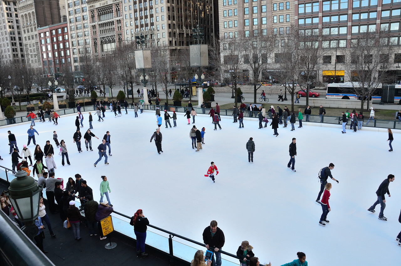 March 10, 2012, 60+ degrees and still ice skating downtown Chicago.
