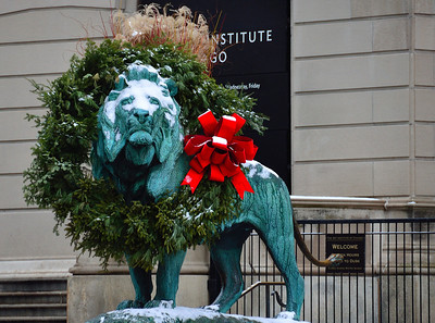 Guardian at the entrance of the Chicago Institute of Art