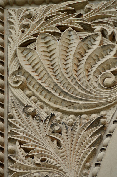 Elegant stonework found on the exterior of Graves Hall at Hope college