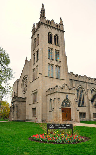 Dimnent Memorial Chapel on the campus of Hope College in Holland, Michigan is a community landmark. The cornerstone, engraved with the college motto Spera in Deo (Hope in God), was laid on October 12, 1927.