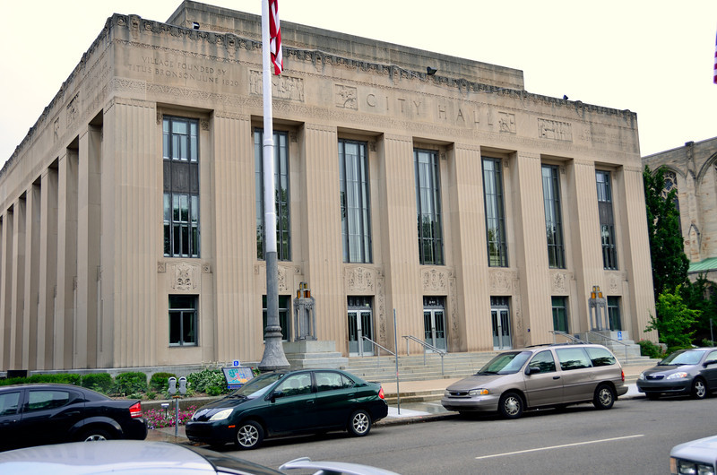 """This 1931 structure, across Bronson Park from the County Building, is a perfect example of what some call """"Civic Art Deco""""."""