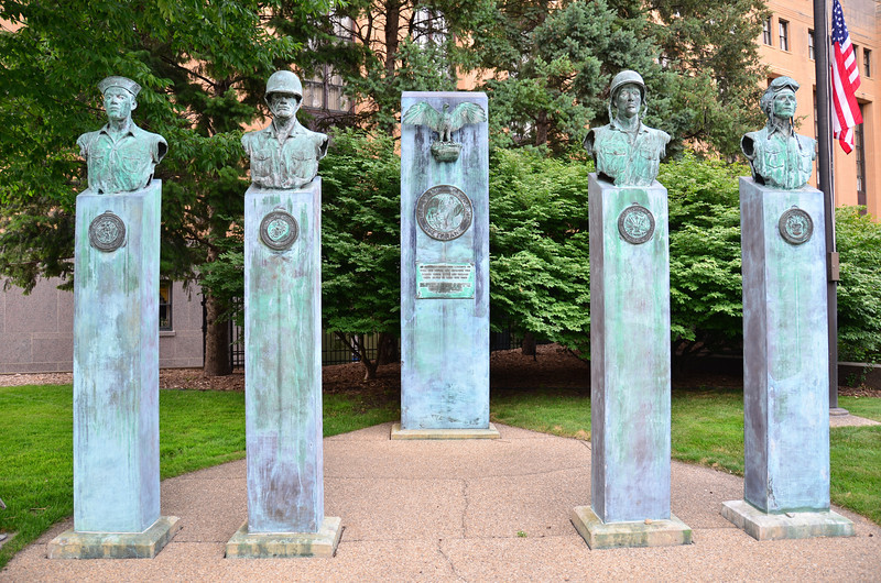 A memorial in front of the Kalamazoo County Building dedicated to disabled veterans of all American wars. The memorial was dedicated in 1985.