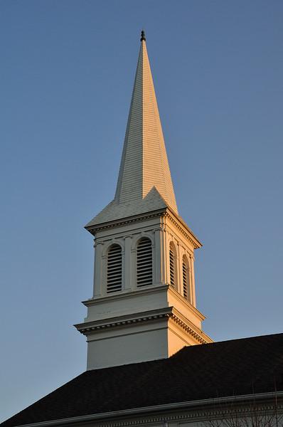 Sun and Shade on church steeple near downtown Kalamazoo.
