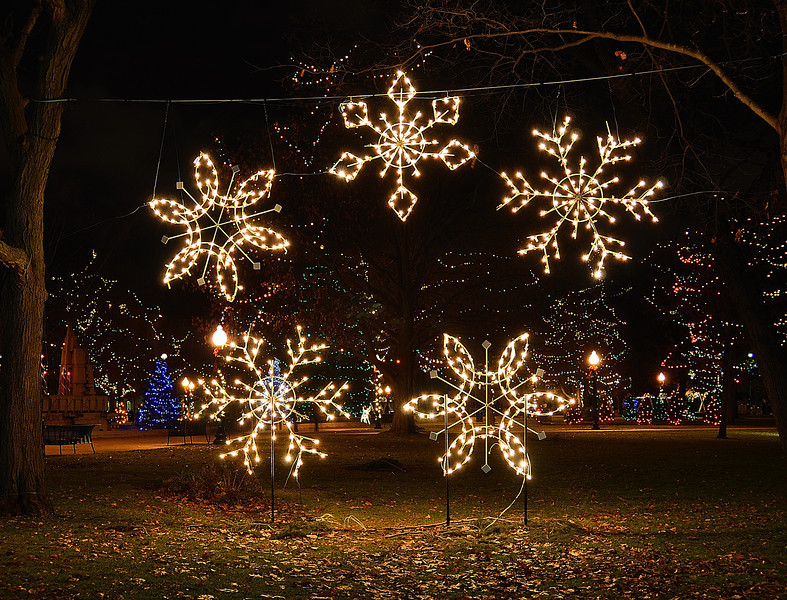 Bronson Park is a kaleidoscope of color during the winter holiday season.  Thousands of lights adorn the parks many trees and sculptures.