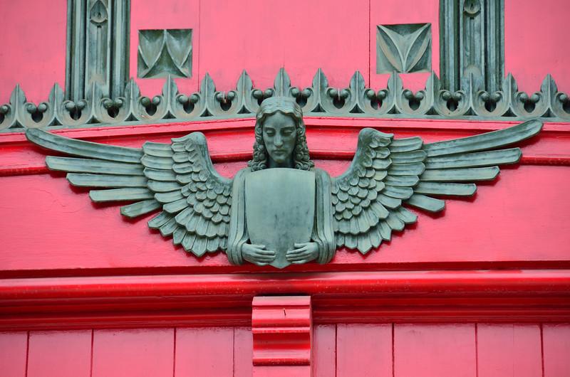 Angel guarding the doors of the First Presbyterian Church of Kalamazoo