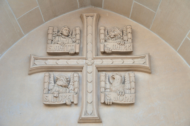 Carving at the entrance of St. Augustine Cathedral.