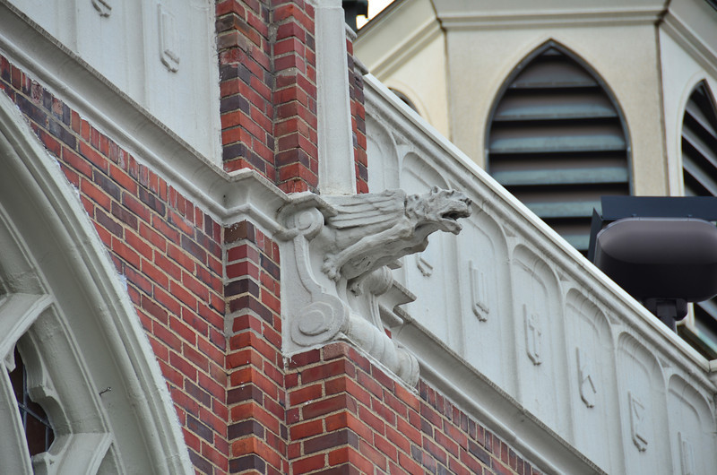 Lion rain spout on the First Congregational Church building in Kalamazoo.