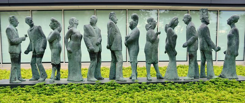 Sculpture of people outside the Art Institute, Kalamazoo MI
