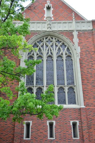 Window of the First Congregational Church building in Kalamazoo.