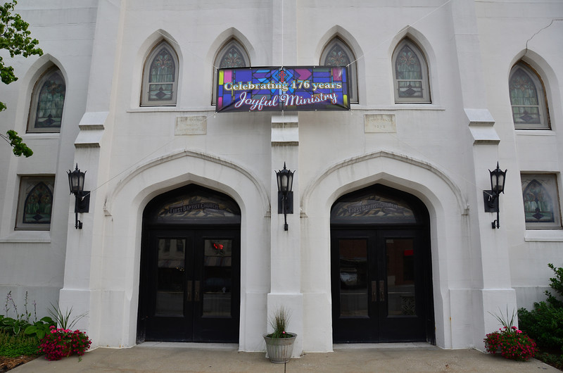"""The First Baptist Church of Kalamazoo was founded in 1836.  That year it built its first home on one of the four lots which Titus Bronson had designated for the churches of the town.  (thus the name """" Church Square"""")"""