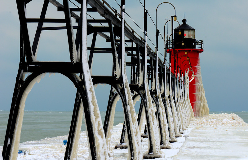 South Haven Light in Deep Freeze