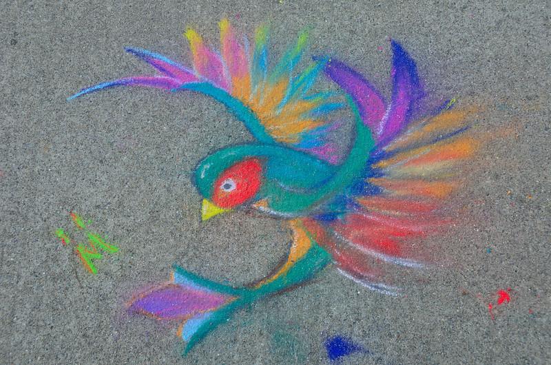 Chalk Art on the sidewalk heading to Lake Michigan