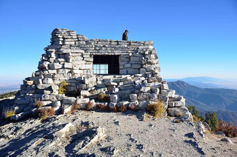 Stone cabin atop Sandia Mountain
