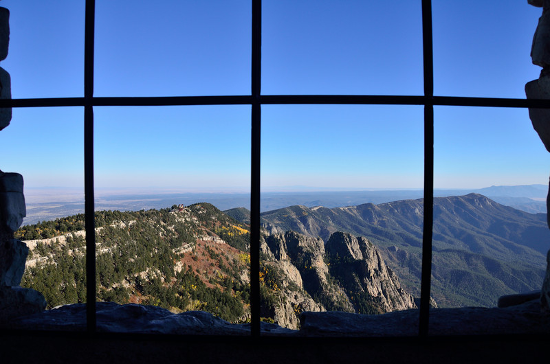 View from inside the stone cabin atop Sandia Mountain