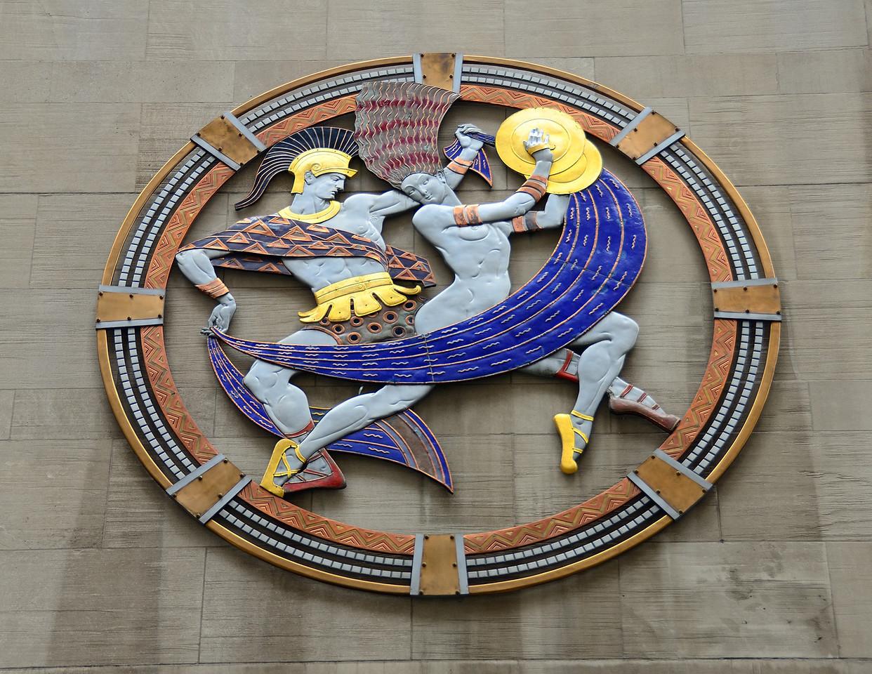Art on the side of Radio City Music Hall