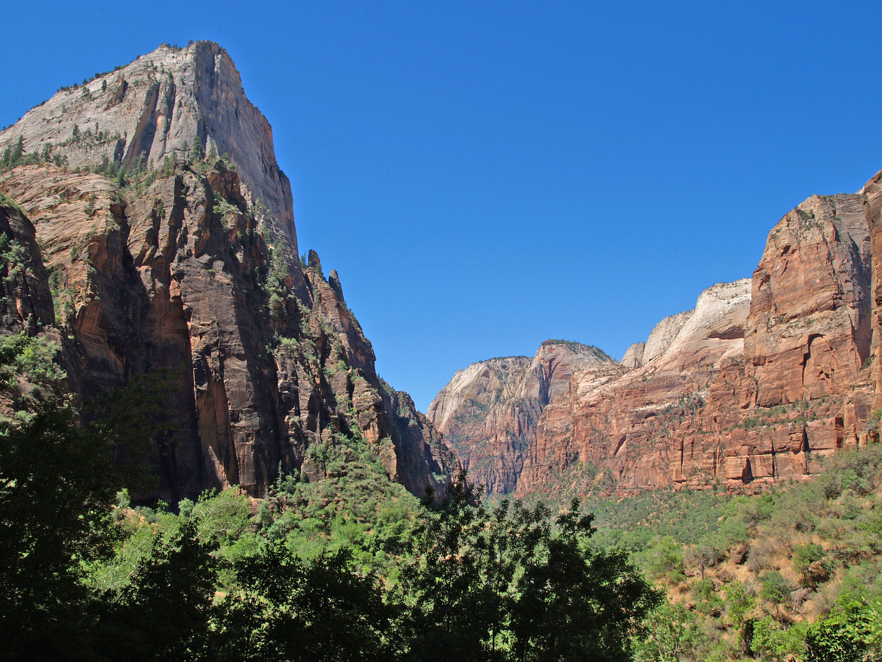 The Sentinel (left) stand guard to the entrance of Zion