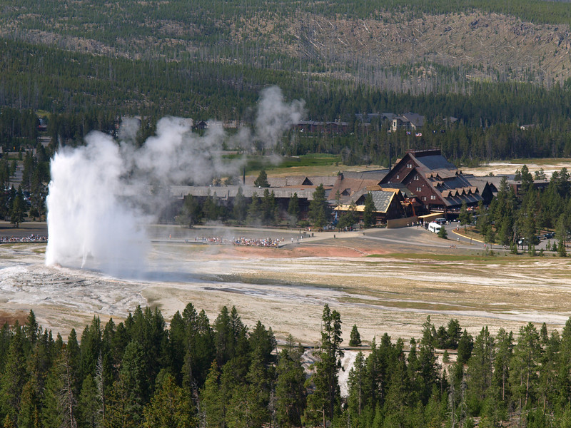 Old Faithful with Lodge in Background