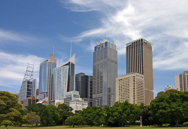 Wide angle of Sydney Skylinefrom The Domain