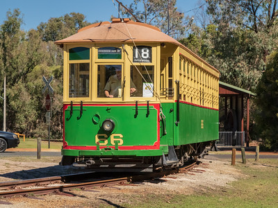 Whitemans Park, Western Australia - Apr 25 2018:  Whiteman's Park Historic Tram has regular services around the Park, popular tourists and young and old alike.