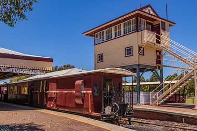 Whiteman, Australia - Jan 16, 2021: The Whiteman Park Railway Station featuring restored Perth rail network station buildings and operated by the Bennet Brook Railway.