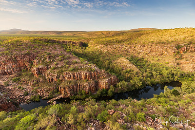 Oblique aerial view of Bell Gorge and Waterfall in the King Leopold Conservation Park, Kimberley, Australia